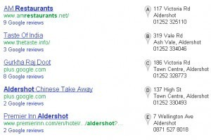 google search restaurants in aldershot