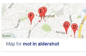 google local map for search mot in aldershot