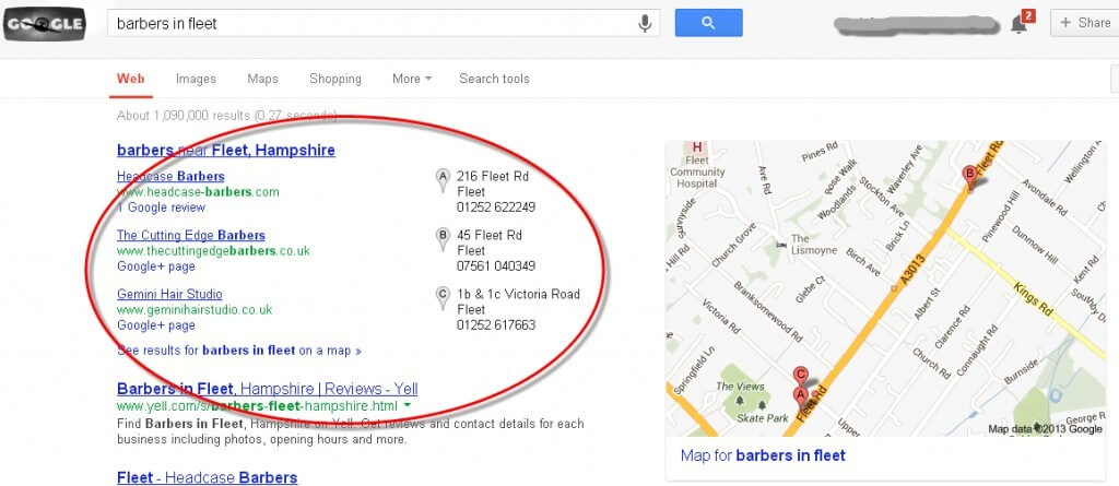 google places listings appear for barbers in fleet search