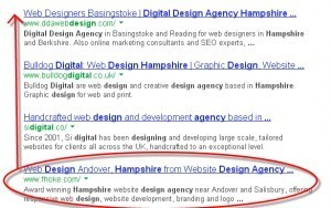 search results in Google for digital design agency hampshire