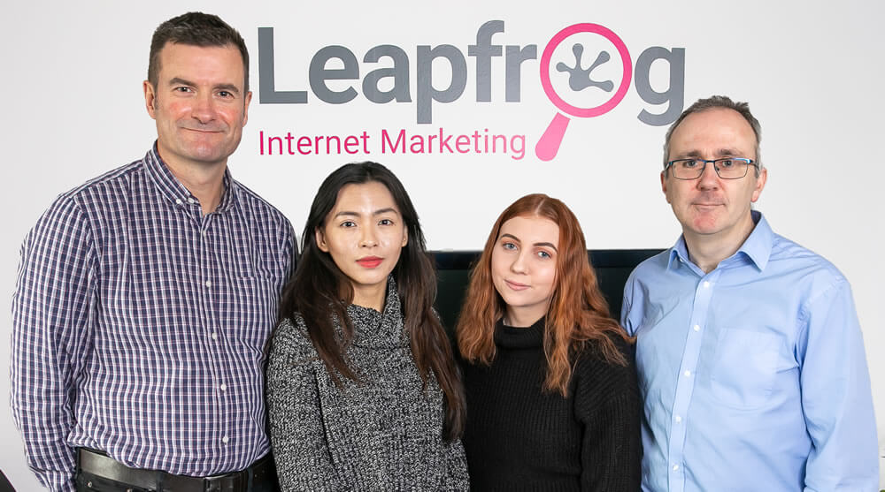 the leapfrog internet marketing team in the office in hampshire