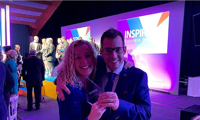 celebrating a win at inspire business awards in hampshire