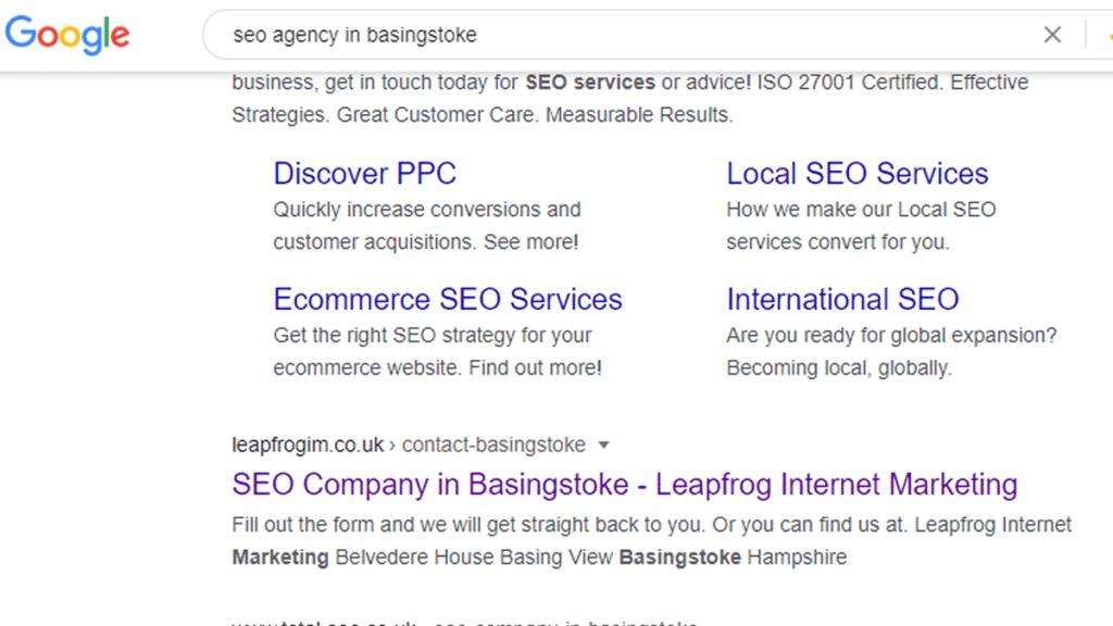 seo agency in basingstoke google search result