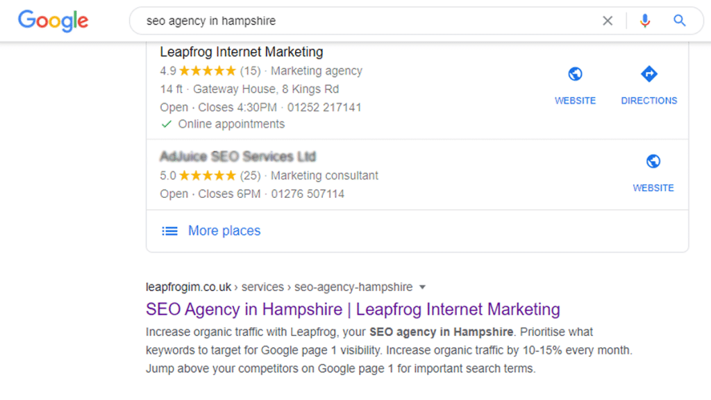 seo agency in hampshire google search result