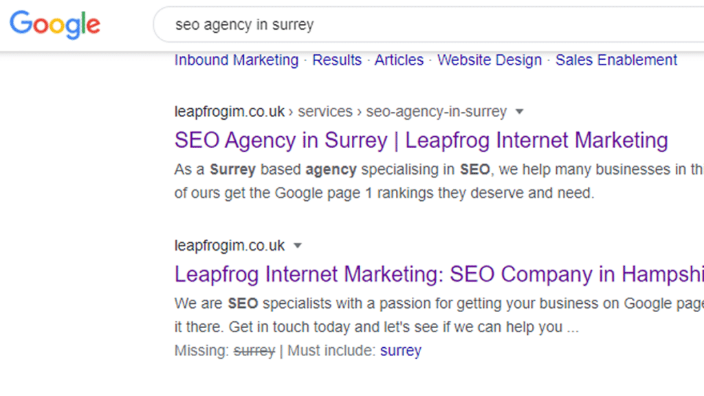 seo agency in surrey google search result